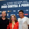 UNDP Associate Administrator Rebeca Grynspan (centre) is flanked by Zinédine Zidane (left) and Ronaldo.