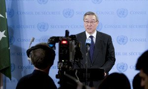Security Council President, Foreign Minister Kim Sung-hwan of the Republic of Korea, reads statement to the press.
