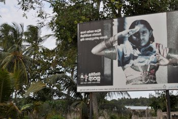 A billboard campaign in Sri Lanka highlighting the plight of girl child soldiers.