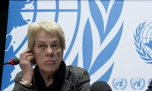 Carla del Ponte, member of the Commission of Enquiry on Syria, briefs the press in Geneva.