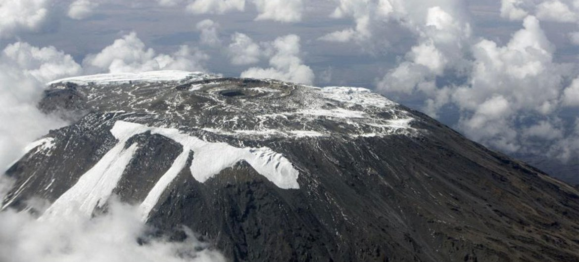 Aerial view of the dwindling ice on the summit of Mount Kilimanjaro.