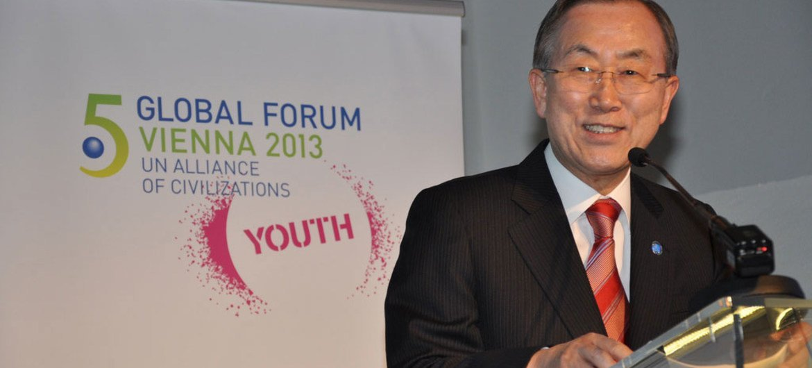 Secretary-General Ban Ki-moon addresses youth event at the Fifth Global Forum of the UN Alliance of Civilizations, in Vienna, Austria.