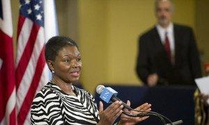 Emergency Relief Coordinator Valerie Amos briefs reporters.