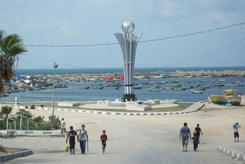 A memorial at the Gaza seaport honouring nine Turkish activists who died trying to break Israel's naval blockade in May 2010.