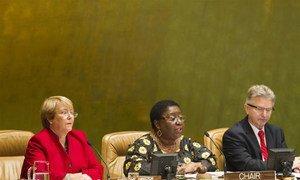 UN Women Executive Director Michelle Bachelet (left) and Commission chair, Ambassador Marjon V. Kamara of Liberia, address meeting.