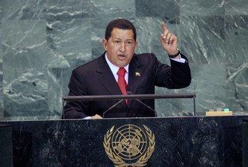 Venezuelan President Hugo Chávez addresses the UN General Assembly in 2009.