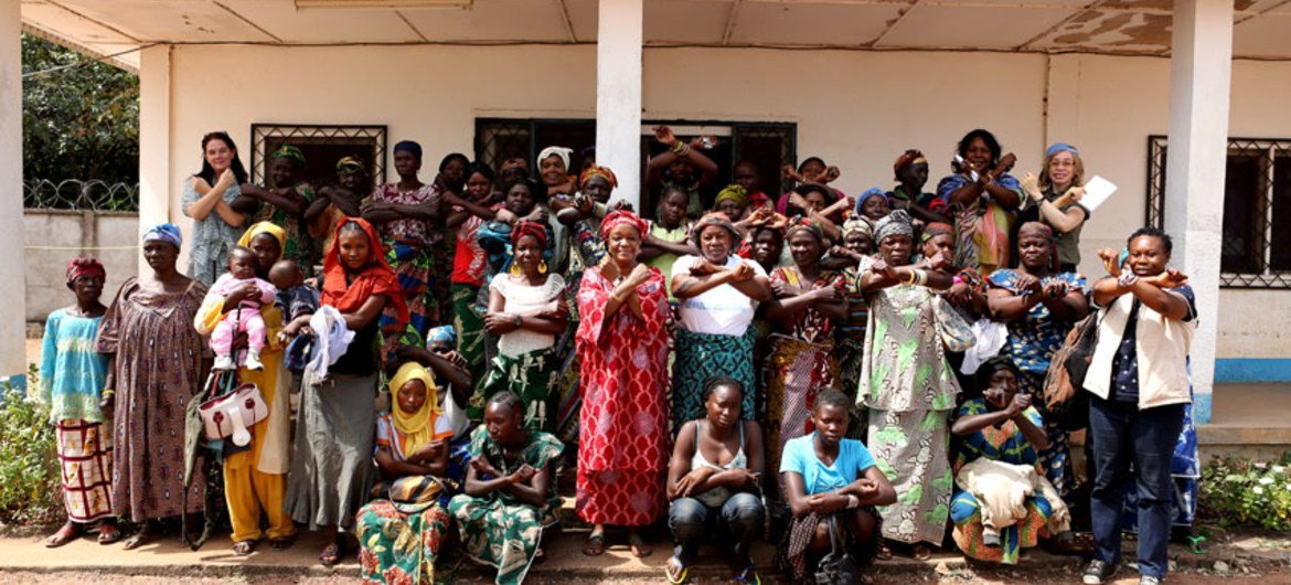 """A women's group in Cental African Republic joins UN Special Representative on Sexual Violence in Conflict, Zainab Hawa Bangura, in the """"stop rape in war"""" campaign."""