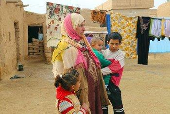 (من الأرشيف): نازحون في منطقة الشدادي في محافظة الحسكة شمال شرق سوريا.