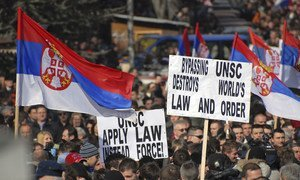 Serbians demonstrate against the decision of the Kosovo Parliament in February 2008 to declare independence from Serbia.