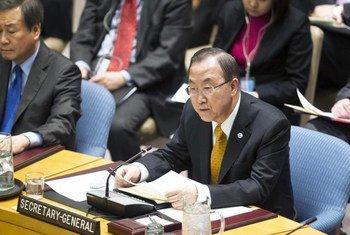 Le Secrétaire général au Conseil de sécurité lors du débat sur l'Afghanistan. Photo ONU/Rick Bajornas