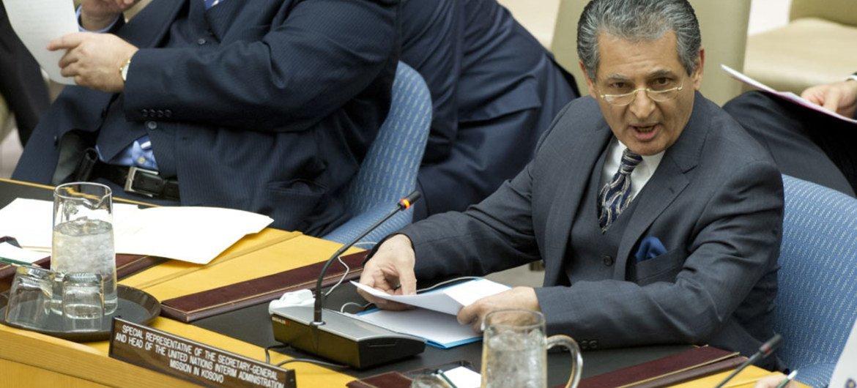 Le Représentant spécial du Secrétaire général pour le Kosovo, Farid Zarif. ONU Photo/Mark Garten