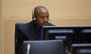 Bosco Ntaganda during his initial appearance before the International Criminal Court in  March 2013.