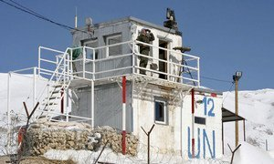 An observation post of the UN Disengagement Observer Force (UNDOF) in the Golan Heights, Syria.