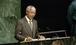 President Nelson Mandela addresses the 49th session of the General Assembly October 1994.