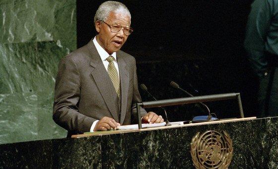 Президент Нельсон Мандела на 49-й сессии Генеральной Ассамблеи ООН в октябре 1994 года.