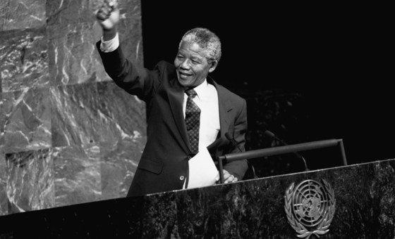 En junio de 1990, el mismo año que había sido liberado y en su calidad de vicepresidente del Congreso Nacional Africano, Nelson Mandela habló ante el Comité Especial contra el Apartheid de la Asamblea General.