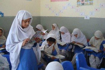 School children attending class at Noor Model School in Shamshatoo, Pakistan.