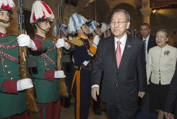 Secretary-General Ban Ki-moon inspects Military Honour Guard of San Marino after receiving the Honour of the Knight of Grand Cross of the Equestrian Order of Saint Agatha.