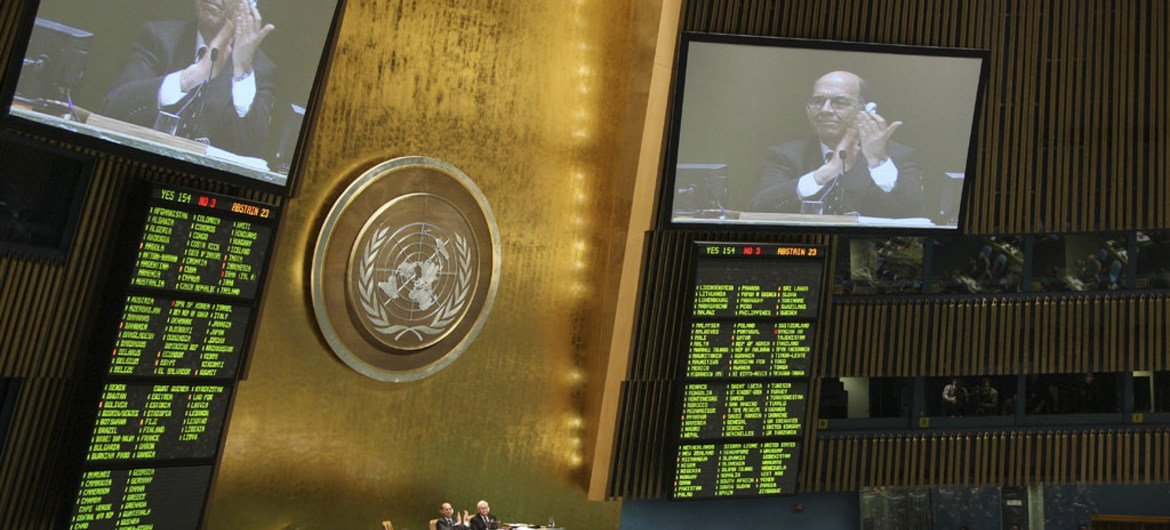 A view of the voting panels as the UN General Assembly voted to approve a global arms trade treaty.
