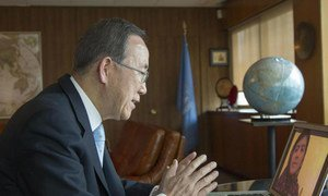 Secretary-General Ban Ki-moon speaks by Skype with Malala Yousafzai, the young Pakistani champion of the right of girls to have an education.