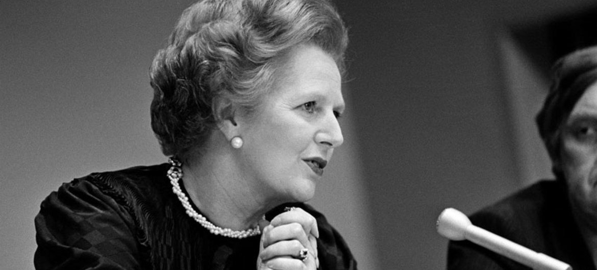 Prime Minister Margaret Thatcher at a press conference at the United Nations in June 1982.