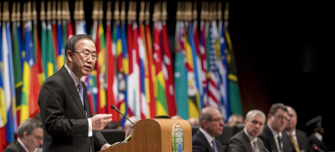 Secretary-General Ban Ki-moon opens the Third Review Conference of the States Parties of the Chemical Weapons Convention in The Hague.