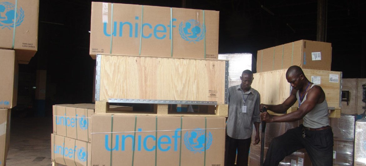 Emergency supplies sent by UNICEF to the Central African Republic being unloaded in the capital Bangui.