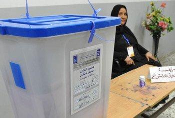 Bureau de vote lors d'élections en 2013 en Iraq. Photo MANUI