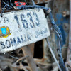 A license plate, a sign of return to normalcy in Somalia after the civil war (October 2012).