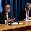 Secretary-General Ban Ki-moon briefs correspondents.