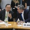 Secretary-General Ban Ki-moon (left) and Special Envoy Gordon Brown at the Global Education First Initiative in Washington DC.
