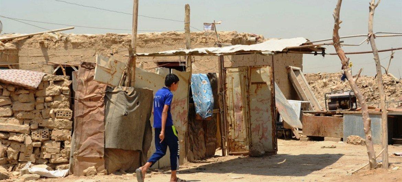 Al-Rustumiya, un camp informel de déplacés aux abords de Bagdad, en Iraq.