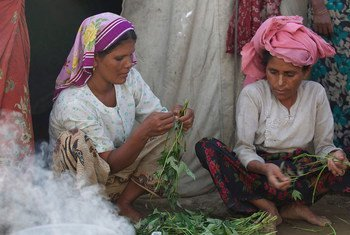 Women in Thea Chaung camp, Rakhine State, Myanmar,  prepare a meal.