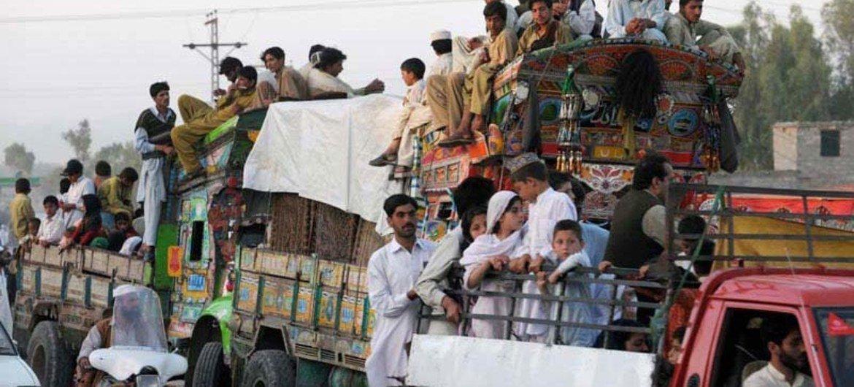 IDPs fleeing Orakzai Agency near the Pakistan-Afghan border.