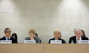 Les membres de la Commission d'enquête internationale indépendante sur la Syrie.
