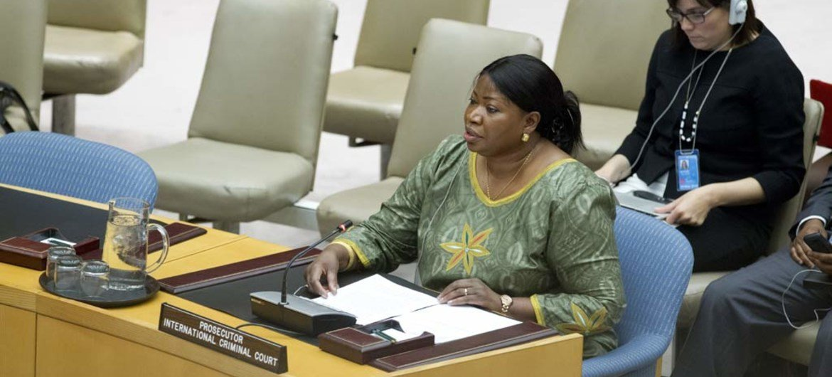 Prosecutor of the International Criminal Court (ICC) Fatou Bensouda addresses the Security Council meeting on the situation in Libya.