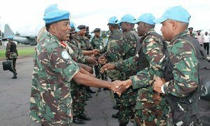 An advance team of the intervention brigade with a special mandate to neutralize and disarm armed groups in eastern Democratic Republic of the Congo, DRC, arrives in Goma.