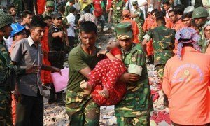 Hundreds people lost their lives when an eight-story building outside Dhaka, Bangladesh,  collapsed on 24 April, 2013, trapping thousands of mostly garment workers inside.