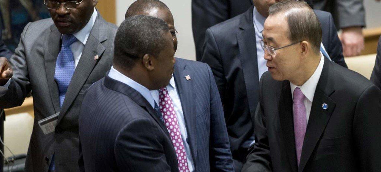 Secretary-General Ban Ki-moon (right) greets President Faure Essozimna Gnassingbé of Togo at the Security Council.