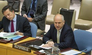 High Representative for Bosnia and Herzegovina, Valentin Inzko (right), briefs the Security Council.