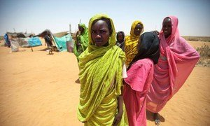 Young residents at a new settlement occupied only by women and children at the Zam Zam camp for internally displaced persons (IDPs) in North Darfur.