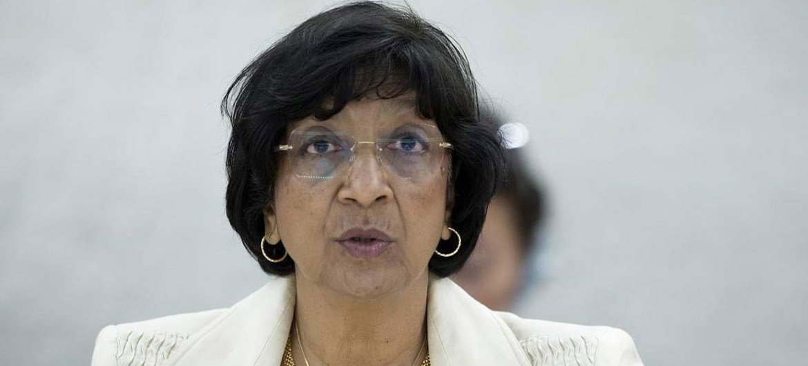 High Commissioner for Human Rights Navi Pillay addresses the 23rd Session of the Human Rights Council in Geneva.