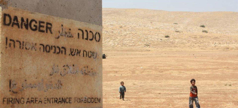 """Des enfants palestiniens bédouins dans le village d'al-Hadidiya, en Cisjordanie, déclaré """"zone militaire"""" par Israël."""