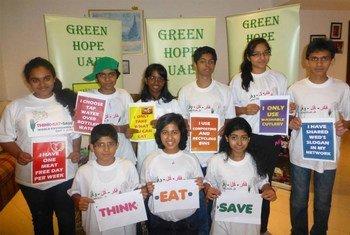 Des enfants des Emirats arabes unis lors de la Journée mondiale de l'environnement.