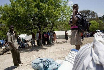 Residents of a makeshift camp in Haiti.