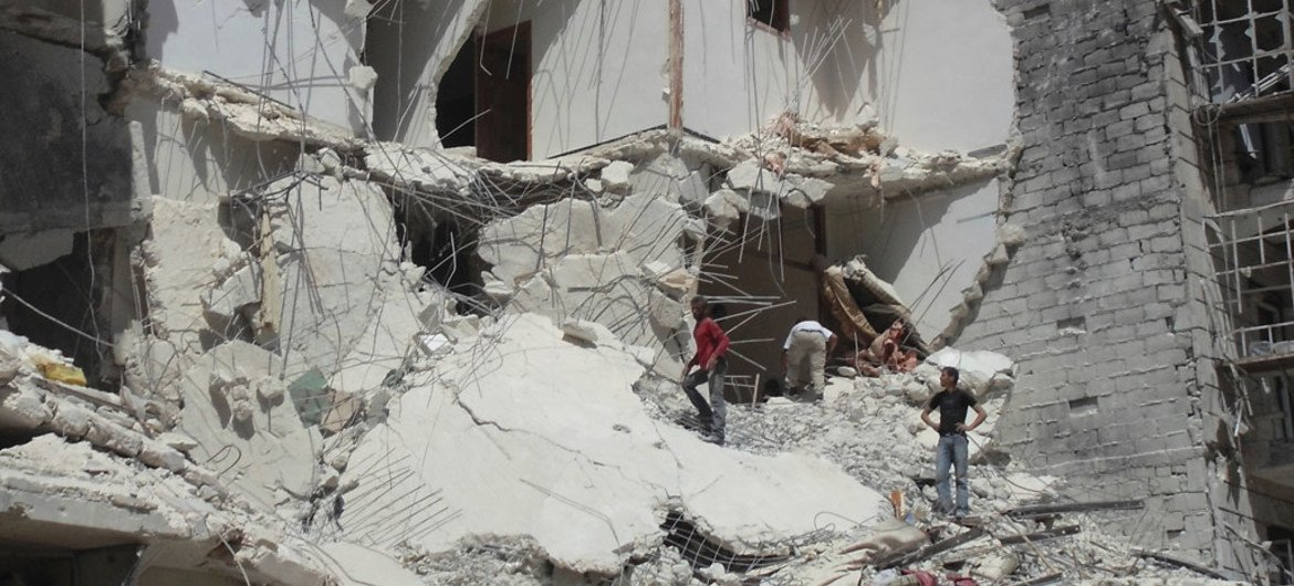 A building severely damaged by an airstrike in Aleppo City, Syria.