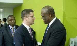 Newly-elected President of the General Assembly Amb. John Ashe of Antigua and Barbuda (right) is congratulated by current President Vuk Jeremic.