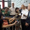 Secretary-General Ban Ki-moon (right) speaks to the press in Beijing, China.