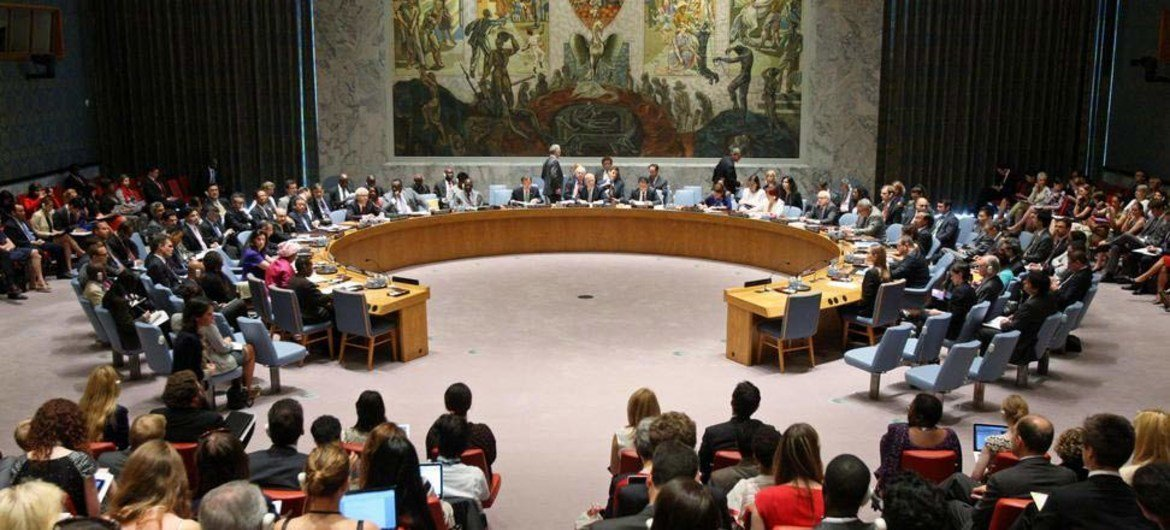 Wide view of the Security Council meeting on women and peace and security.