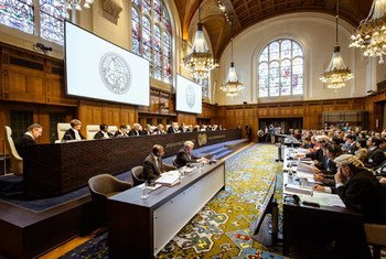 Judges of the International Court of Justice at the opening on 26 June 2013 of the hearings on Whaling in the Antarctic.